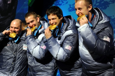 USA-1 4 man bobsleigh team with gold medals at 2010 Winter Olympics 2010-02-27