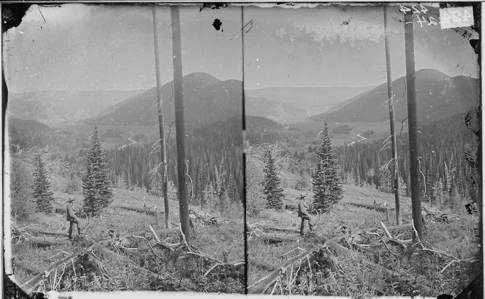 CANYON, VALLEY OF THE CONEJOS RIVER, LOOKING SOUTH FROM VICINITY OF LOST LAKES, COLORADO - NARA - 524059