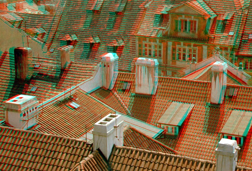 Old Prague roofs anaglyph