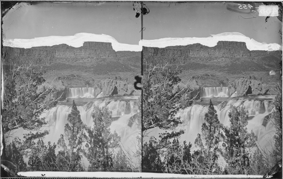 SHOSHONE FALLS, SNAKE RIVER, IDAHO, LOOKING THROUGH THE TIMBER & SHOWING THE MAIN FALL & UPPER OR