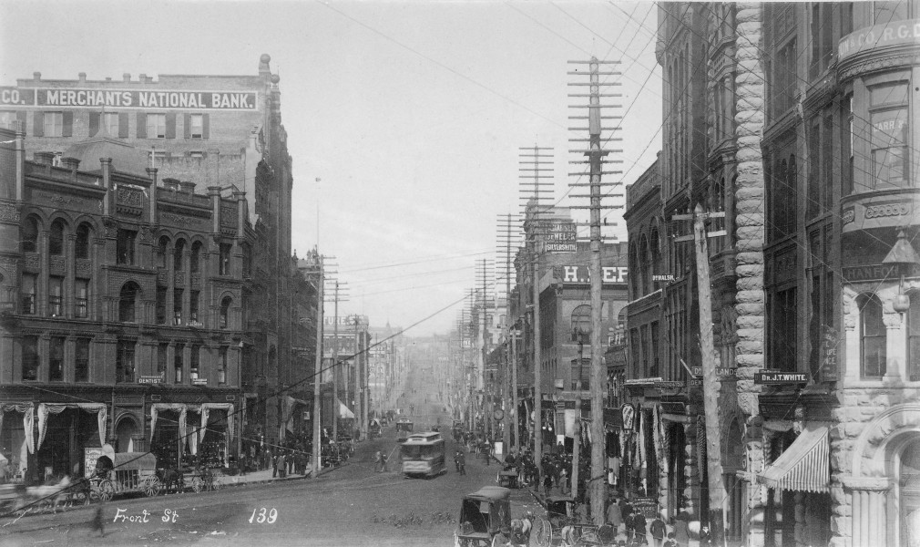 1st Ave from James St, Seattle, Washington, ca 1891 (LAROCHE 316)