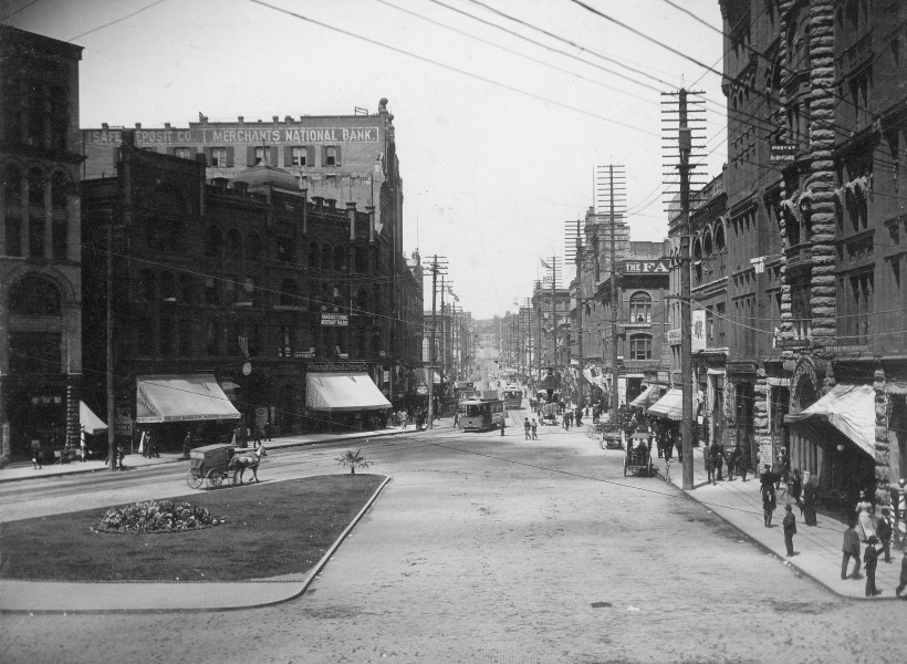 1st Ave from James St, Seattle, Washington, ca 1892 (LAROCHE 315)