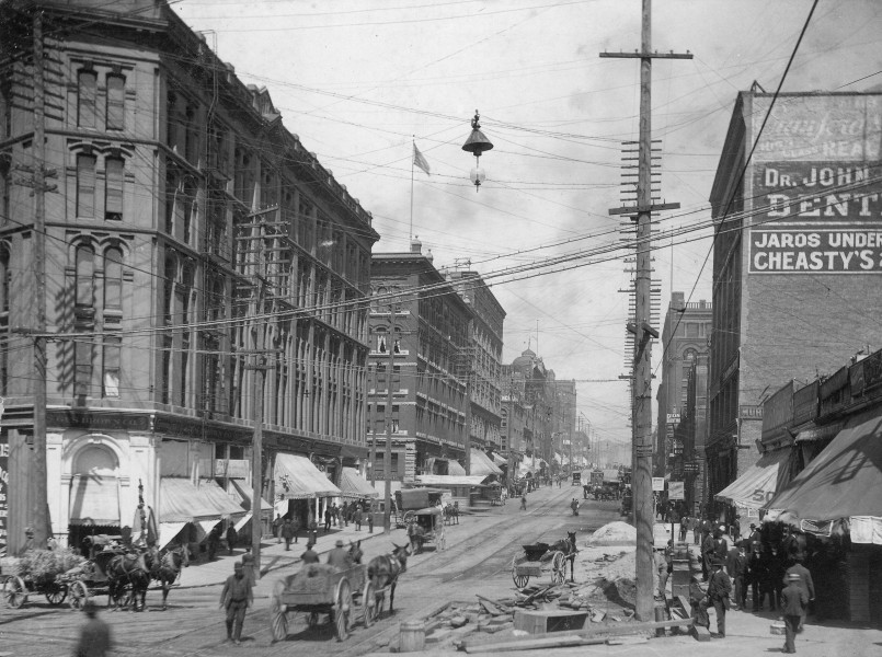 2nd Ave looking north from Yesler Way, Seattle, Washington, ca1895 (LAROCHE 317)