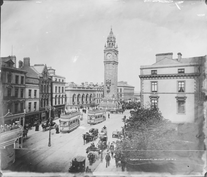 Albert Memorial in Belfast at 14-25 - Now you don't see the horse-drawn trams! (12169634835)
