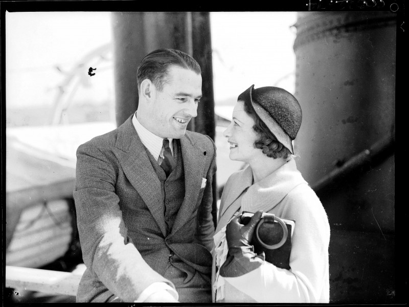 Australian actor Brian Abbot and his wife Grace Rikard Bell on board SS MORINDA at no. 10 wharf Walsh Bay (8146420887)