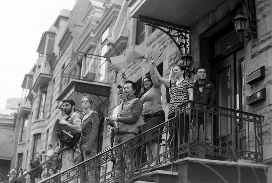 Cheers from the balcony (student protests in Montreal, Quebec, Canada)