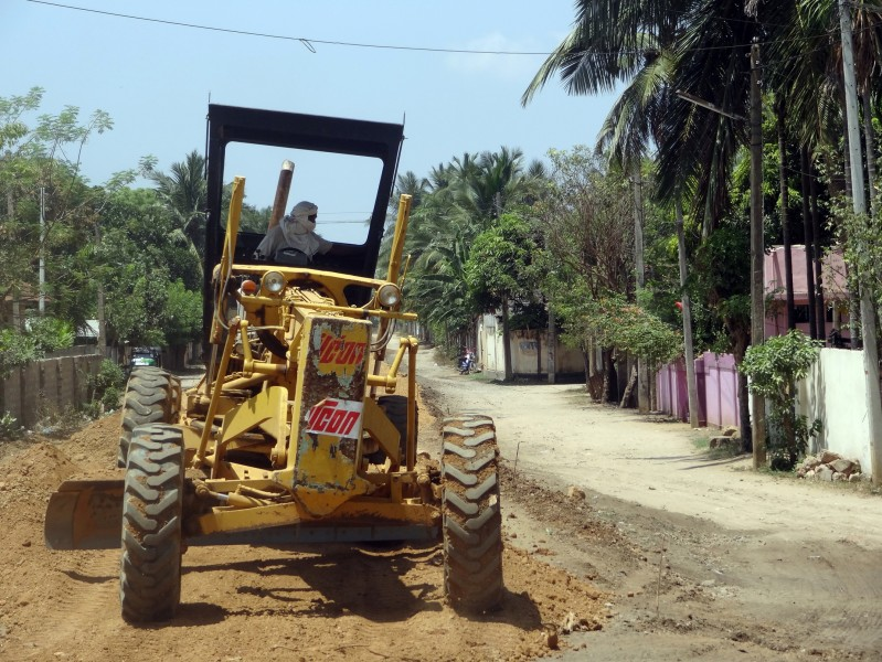 A Grader working in railway constructions, jaffna