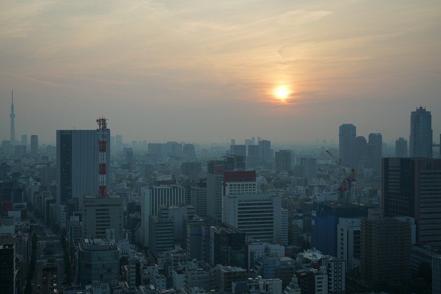 A sunrise and skyscrapers as seen from Shiodome, Tokyo