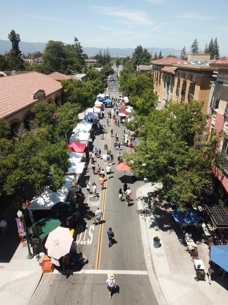 Aerial view of Campbell farmer's market