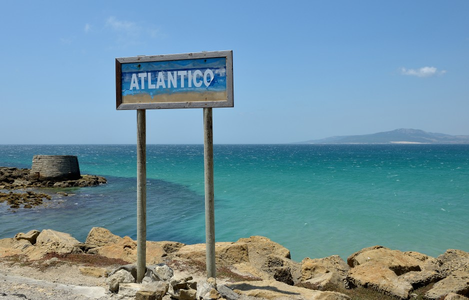 Atlantico sign at Punta de Tarifa