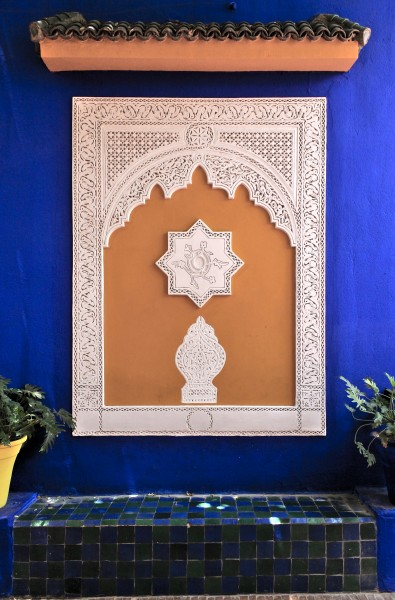 Bench and stuccos in the Villa Majorelle, Morocco