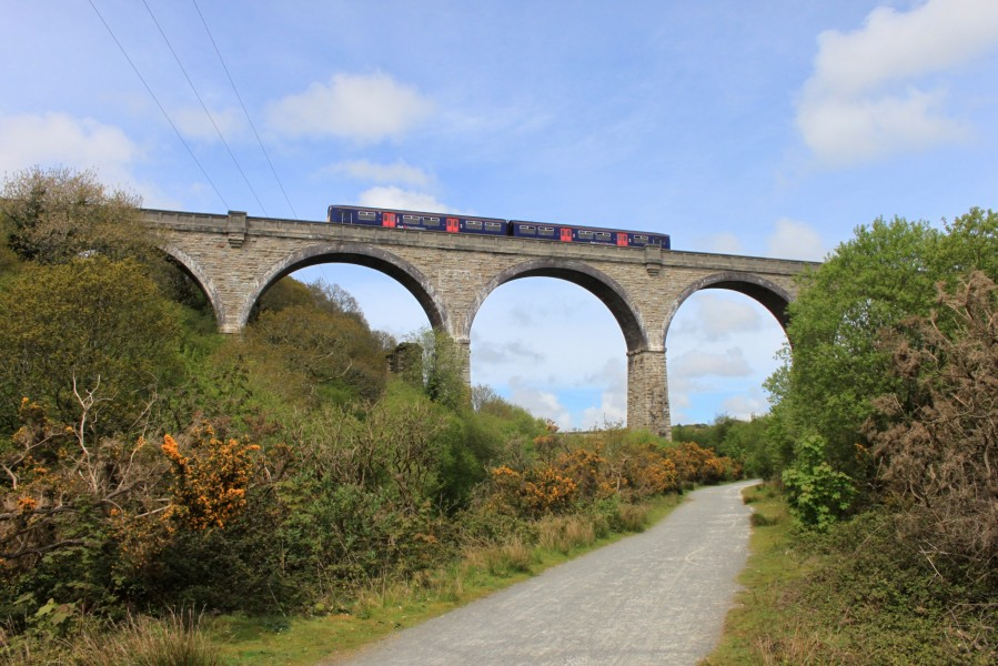 Carnon Viaduct - FGW 150126 above Mineral Tramways Trail