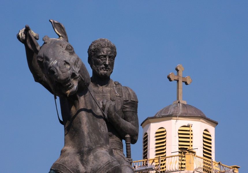 Close-up of Philip II of Macedon with Clock tower in background
