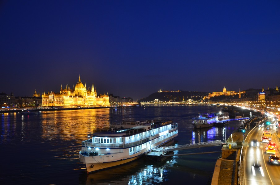 Danube and Hungarian Parliament Building by night