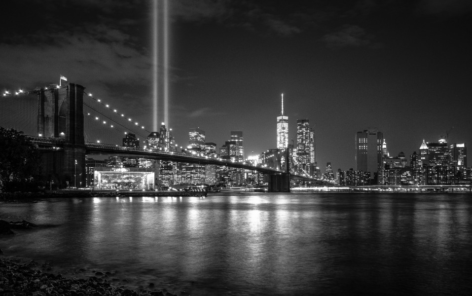 Figure 2. Light beams in the place of twin towers in memory of the September 11 terrorist attacks in New York