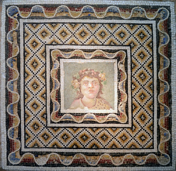 Floor mosaic with the face of dionisio