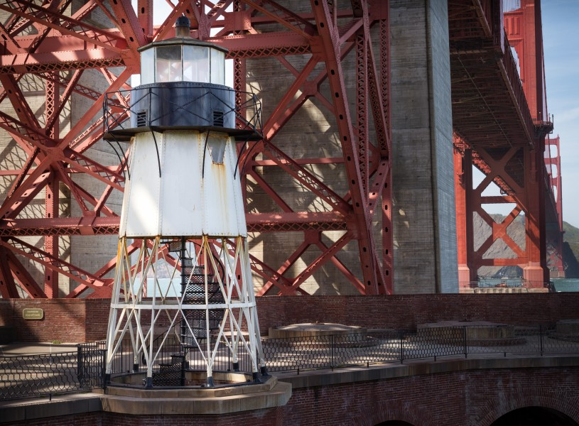 Fort Point Light below the Golden Gate Bridge