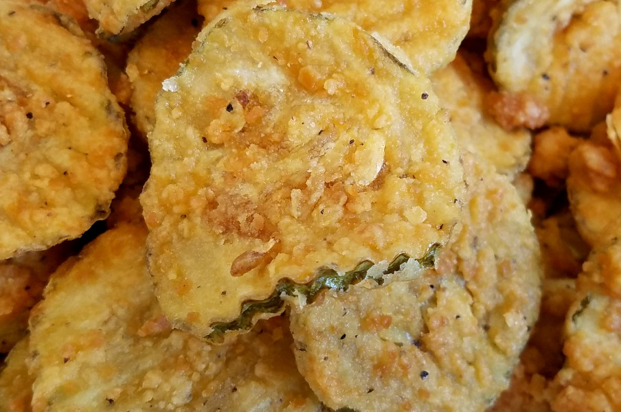 Fried pickles closeup