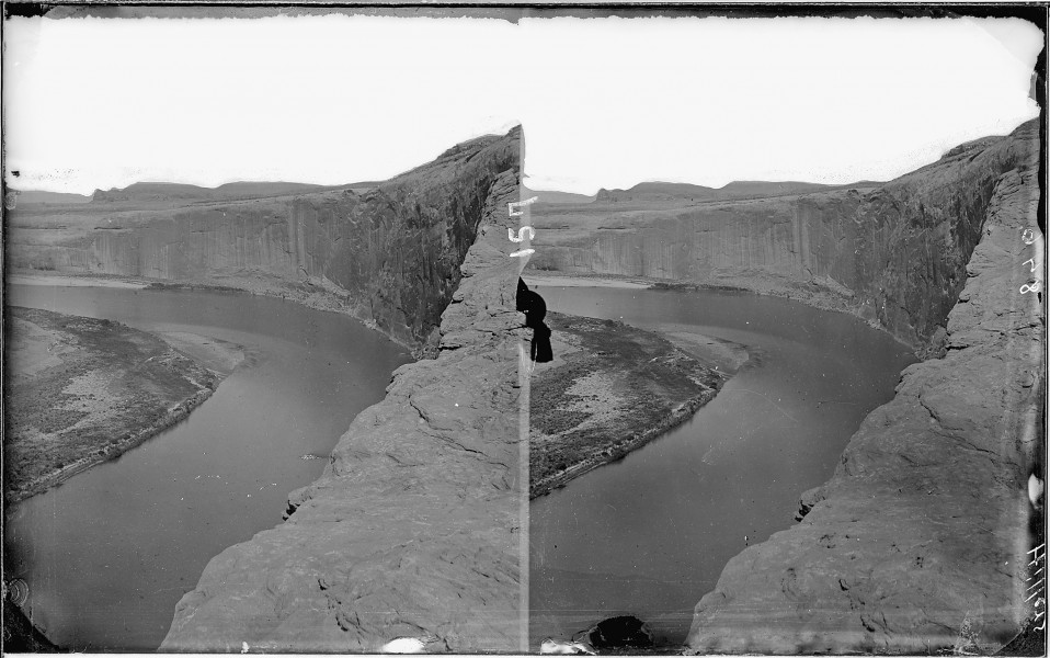 Glen Canyon. Colorado River, 1872, photo by Fennemore. Shows nice river bend in rock cliff canyon walls. Old nos.... - NARA - 517980