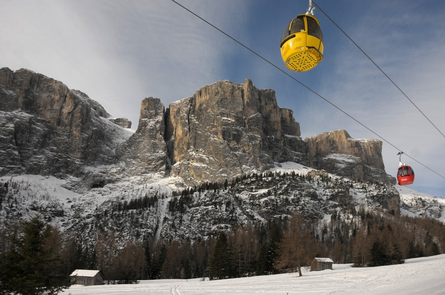 Gondola lift to Pass Gardena Sella Ronda