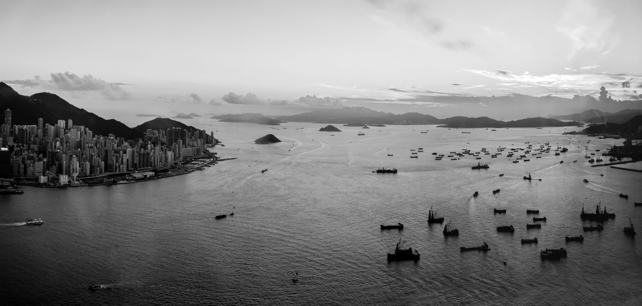 Hong Kong Sunset Black and White
