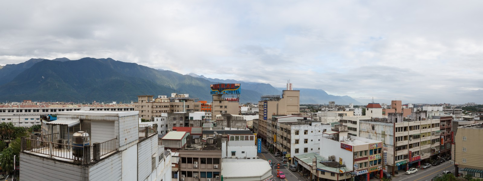 Hualien Taiwan cityscape with mountains
