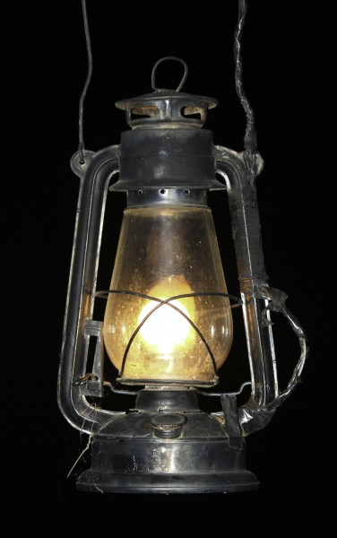 Hurricane lamp in dark