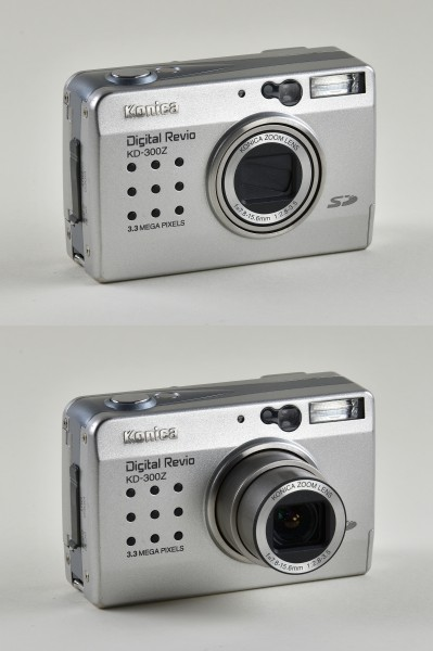 Konica Digital Revio KD-300Z, comparison of open and closed state
