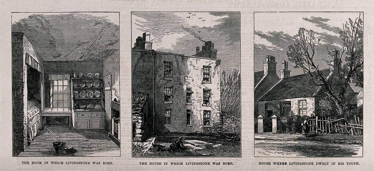 Left, the room where David Livingstone was born; centre, the Wellcome V0018816