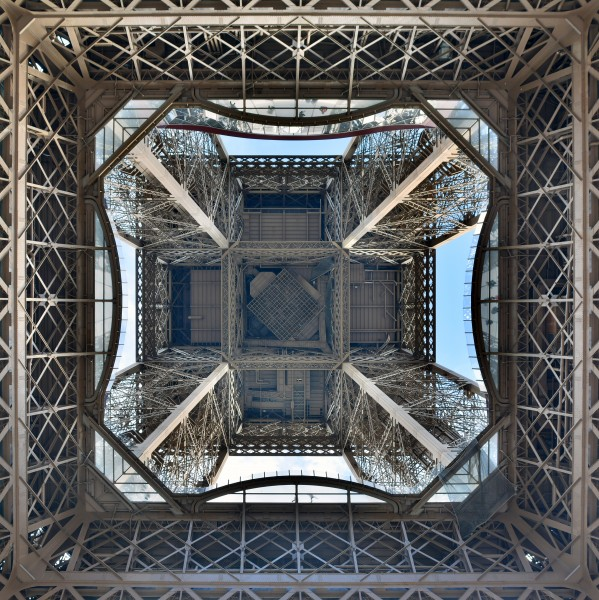 Looking up the center of the Eiffel Tower 2016