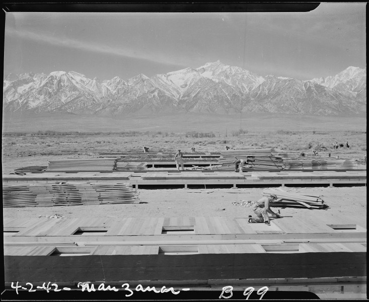 Manzanar Relocation Center, Manzanar, California. Construction begins at Manzanar, now a War Reloca . . . - NARA - 536848