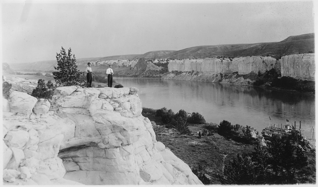 Men on the bluffs overlooking the Missouri River and the boat - NARA - 285911