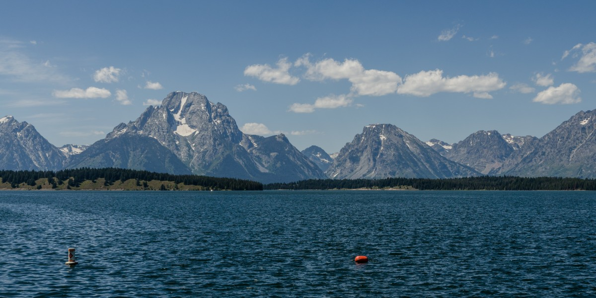 Mt. Moran and Bivouac Peak, Teton Range, East view 20110818 2