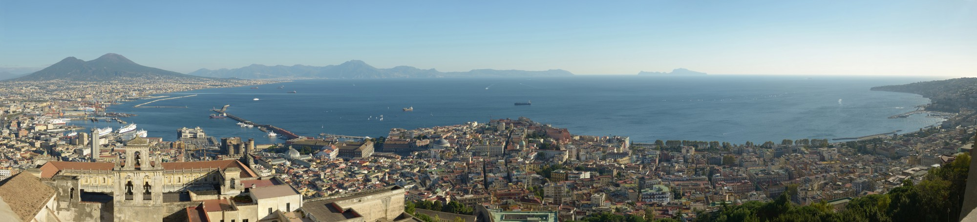 Naples from the Castello Sant Elmo with Abbazia San Martino