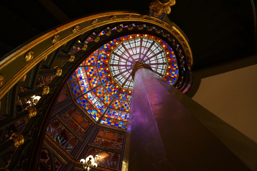 Old Louisiana State Capitol stained glass dome, view from ground floor