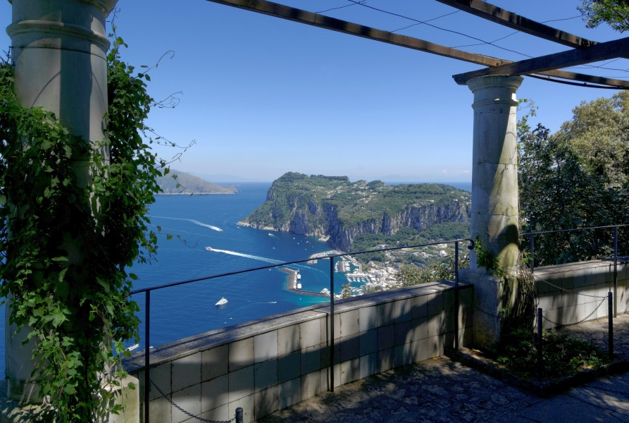 Overlooking Capri harbour from the rotunda in Villa San Michele Anacapri 2013