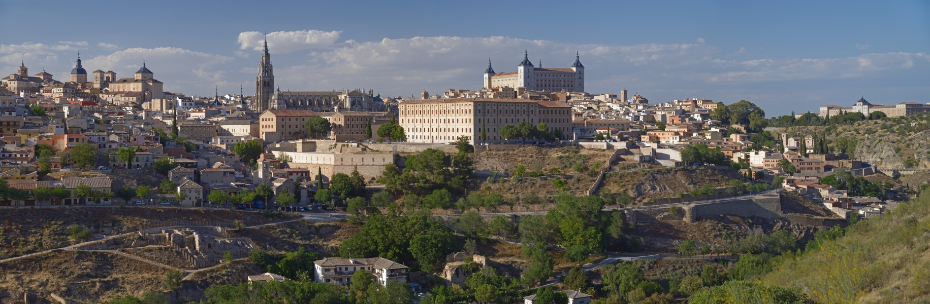 Panorama of Toledo at sunset. View from the south