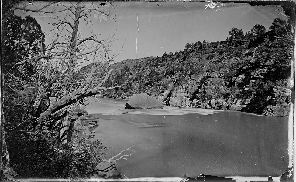 Red Canyon, Green River-Ashley Falls from above, Utah. Before the portage of the boats. See also 481, 554, 555. Note... - NARA - 517802