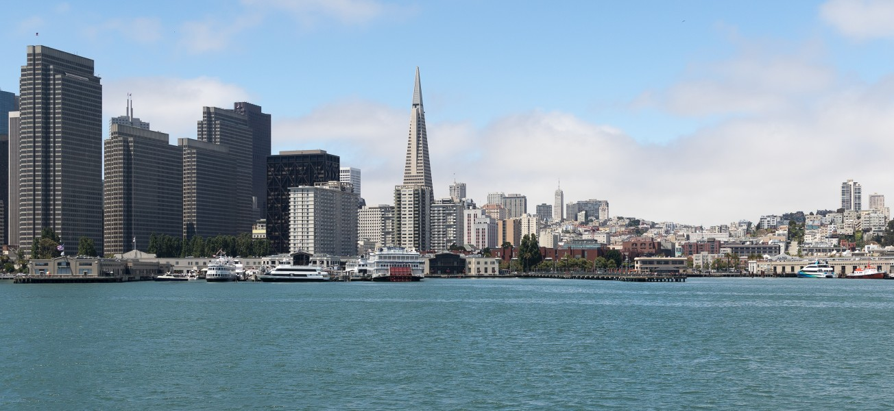 San Francisco and its Transamerica Pyramid as seen from the Bay