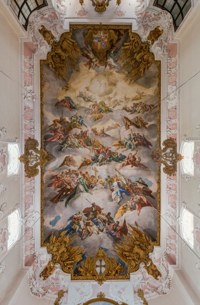 Schlosskirche, Bad Mergentheim, Ceiling 20150726 3