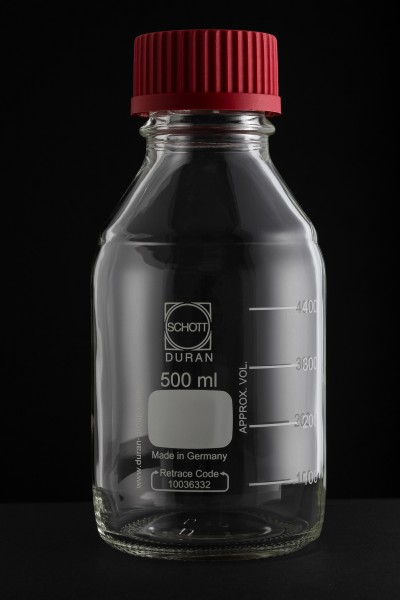 Schott Duran 500 ml clear laboratory flask with PTFE screw cap