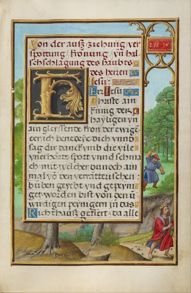 Simon Bening (Flemish - Border with Shimei Throwing Stones at David - Google Art Project