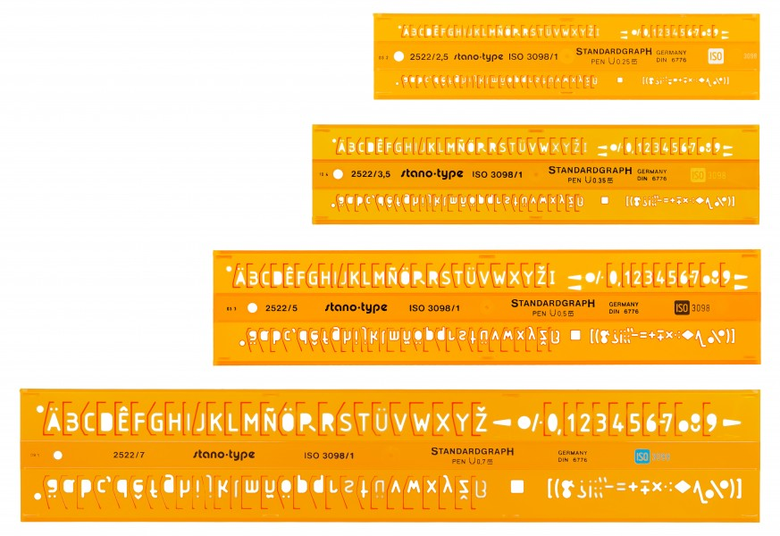 Standardgraph 2522 2.5 to 7mm lettering guides