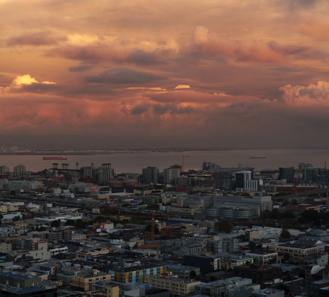 Sunset over SOMA as seen from 100 Van Ness Avenue