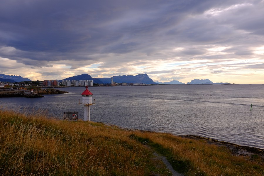 The lighthouse on the promontory of Nyholmen by Bodø harbor