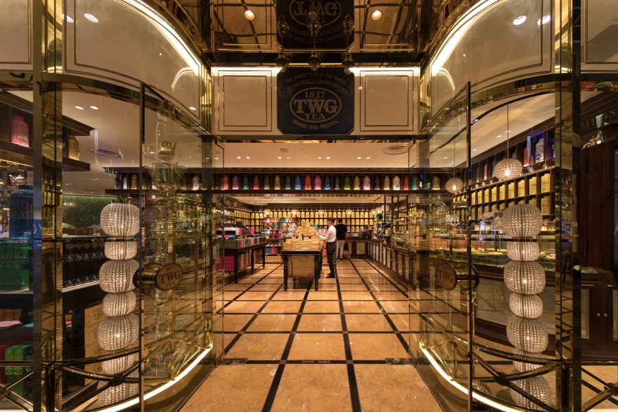 TWG Tea shop entrance in Singapore