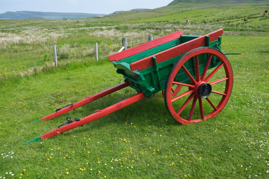 Two-wheeled horse-drawn farm cart in the Skye Museum of Island Life
