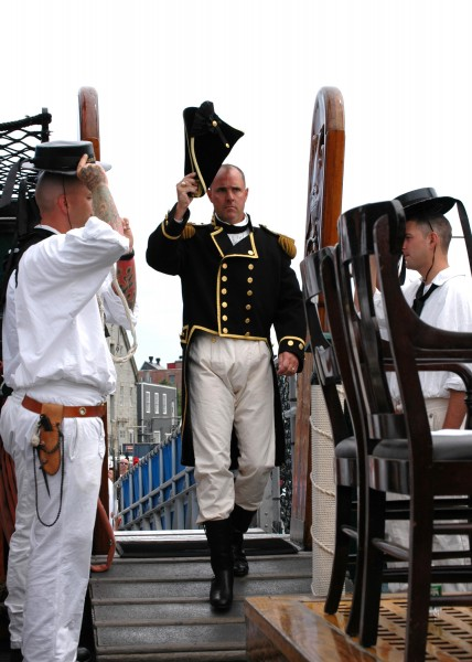 US Navy 050730-N-0335C-001 U.S. Navy Cmdr. Thomas C. Graves steps aboard USS Constitution prior to becoming the 69th commanding officer of the historic ship