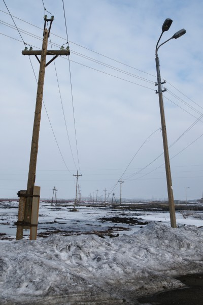 Utility poles in Monchegorsk