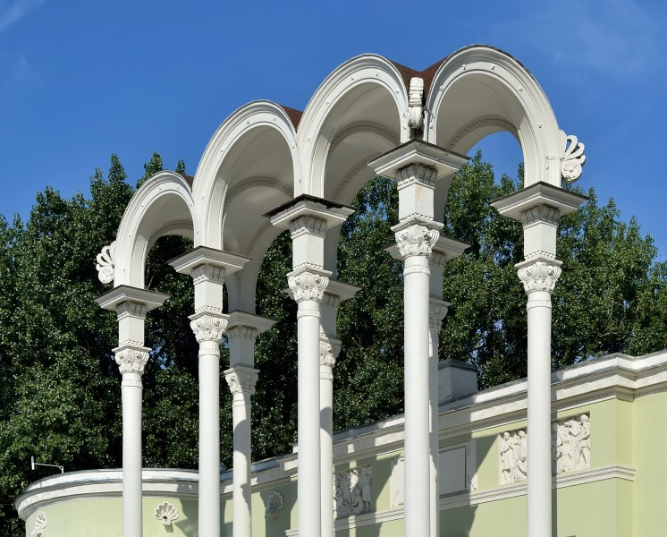 VDNKh Decorative portico of Pavilion No 8 Young Naturalists